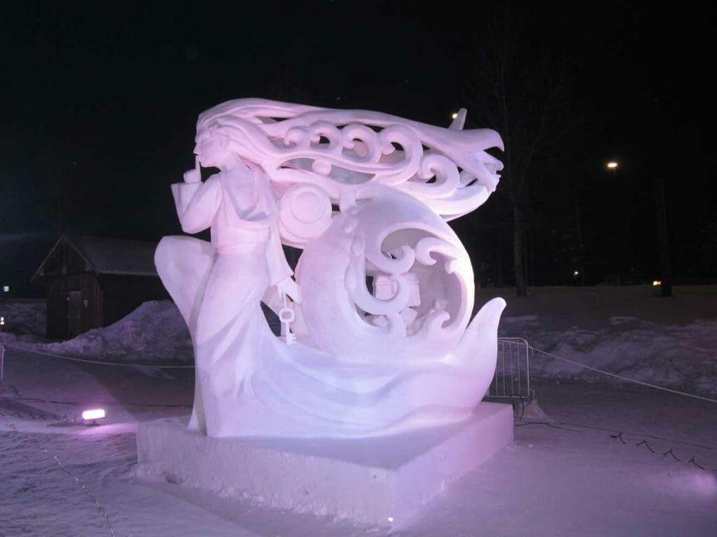 Illuminated snow sculpture