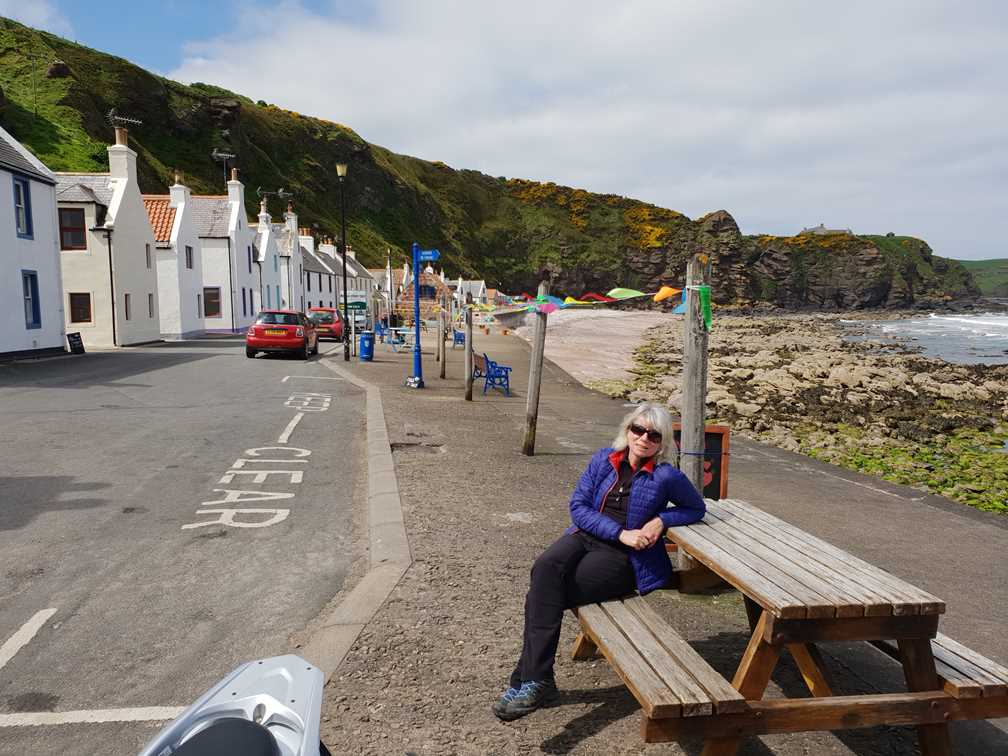Sitting on a bench in Pennan