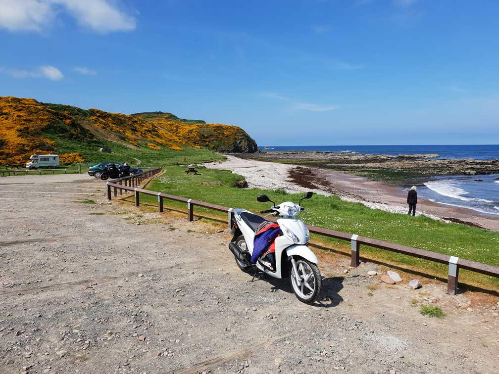 Our tiny scooter, perfect for exploring on our Scottish road trip