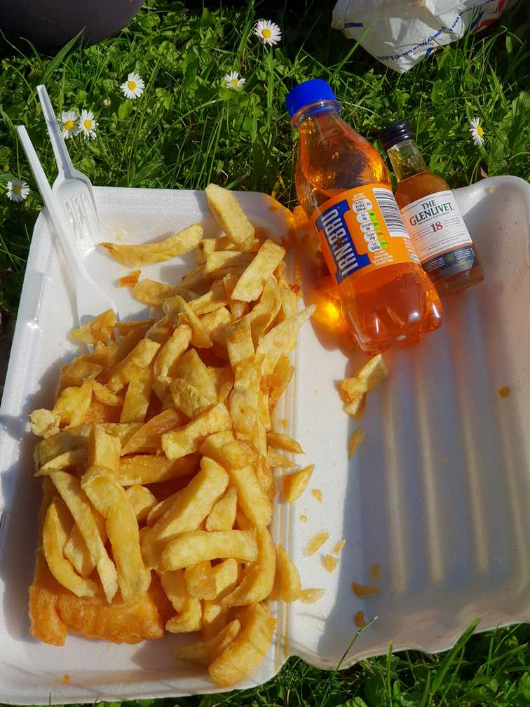 A fish supper with Irn Bru and whisky