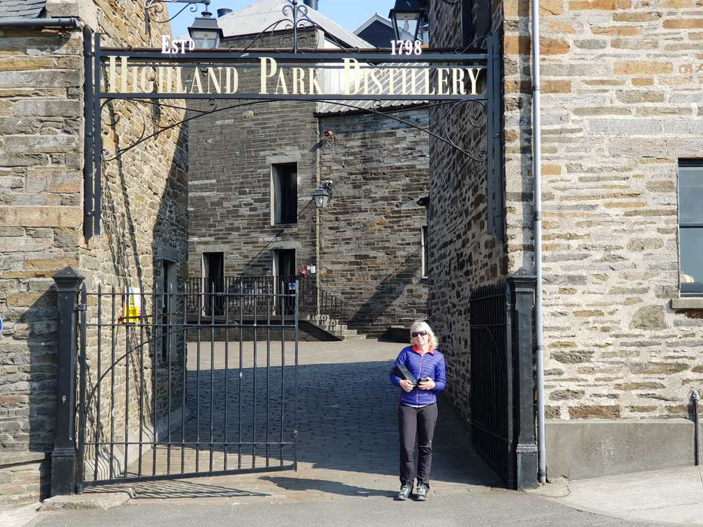 Outside Highland Park whisky distillery with our purchases