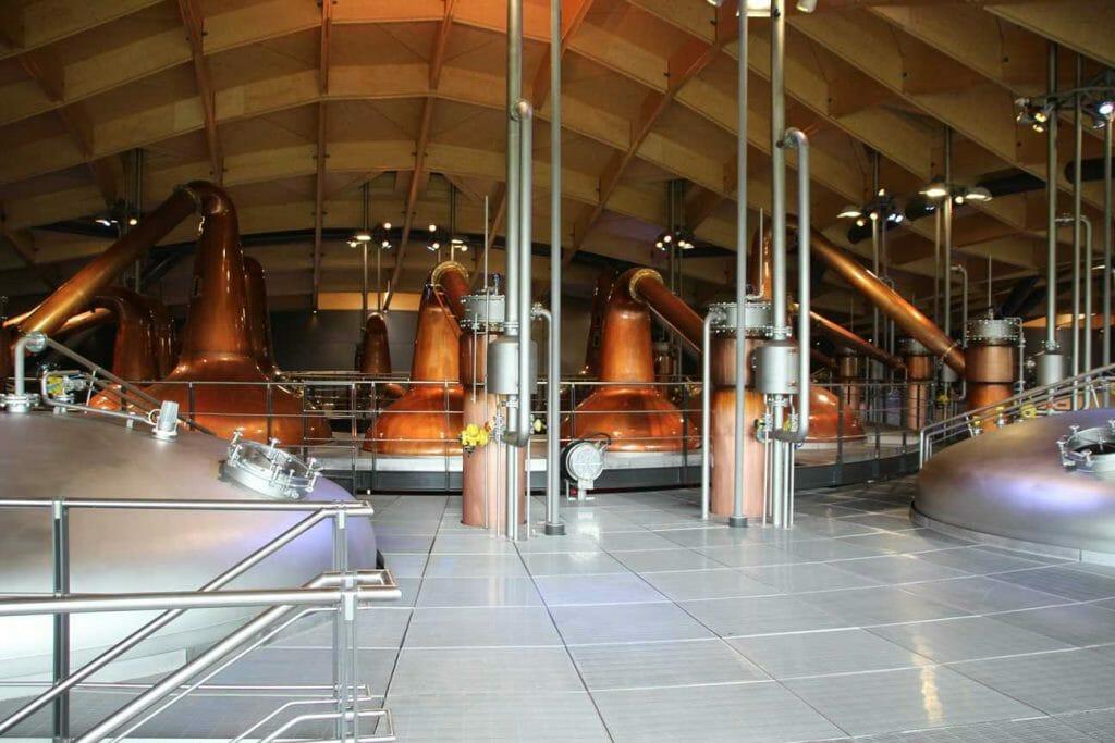 The copper whisky stills in the Macallan Distillery
