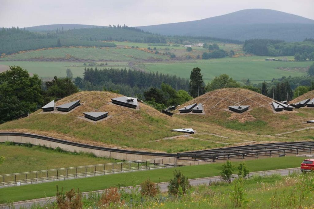 The living roof domes of the Macallan Whisky Distillery