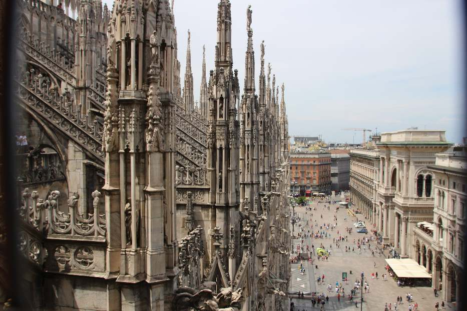 Looking down from the Terraces on Milan Cathedral