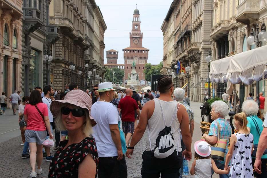 Bustling crowds in Milan