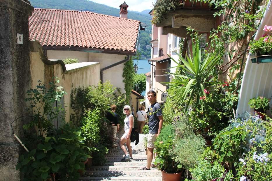 Walking through the narrow streets of Isola Bella