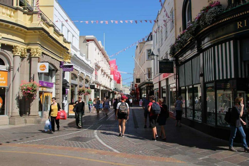 Scene from a street in St Helier