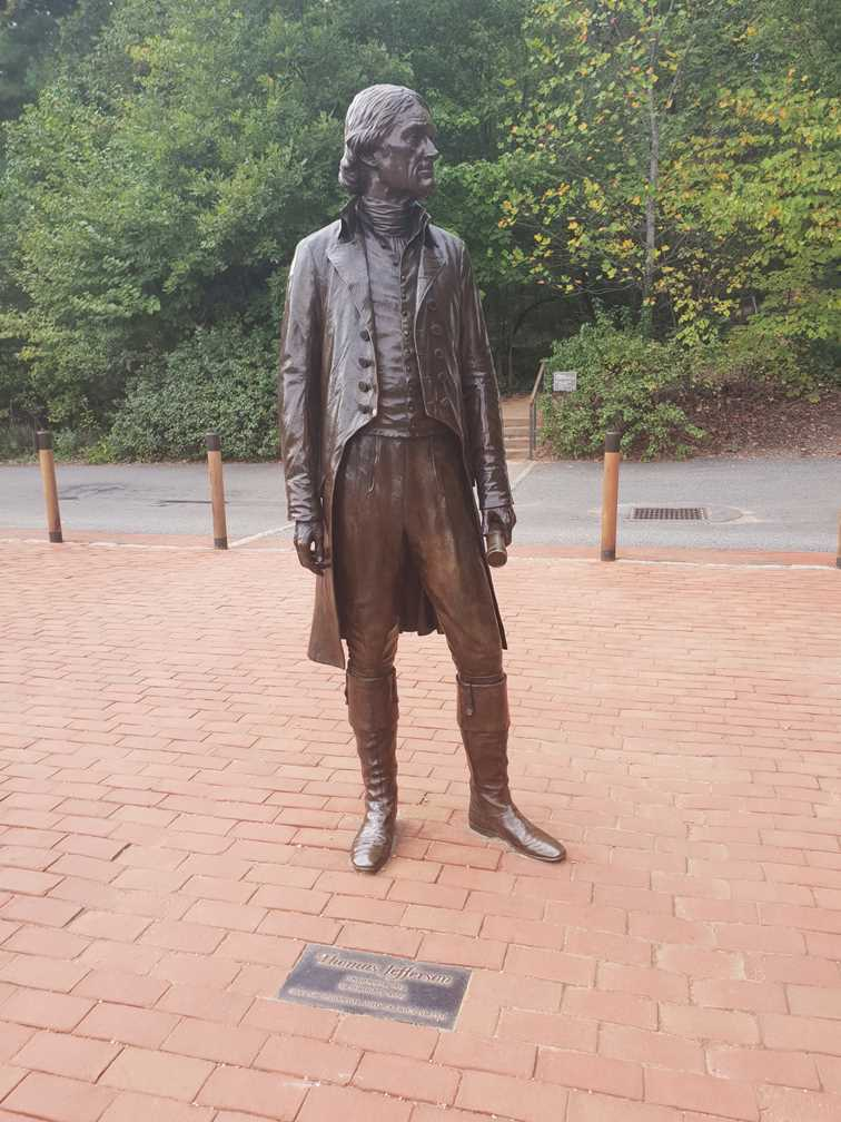 Statue of Thomas Jefferson at the Jefferson Vineyards on our visit to Monticello