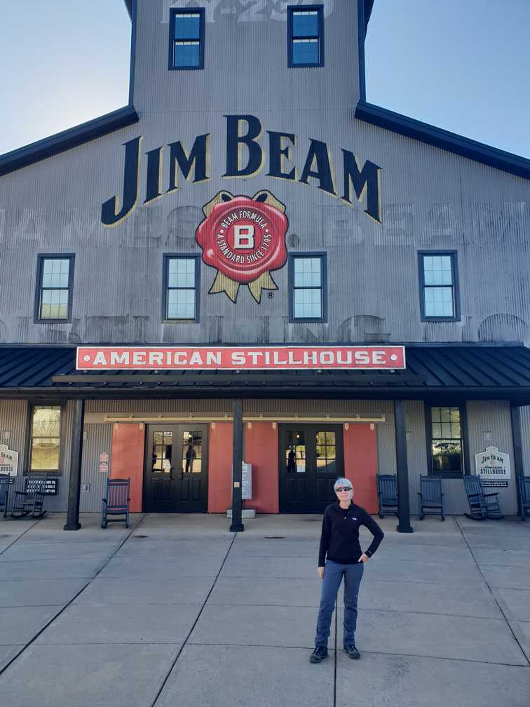 Standing outside the Jim Beam whiskey distillery