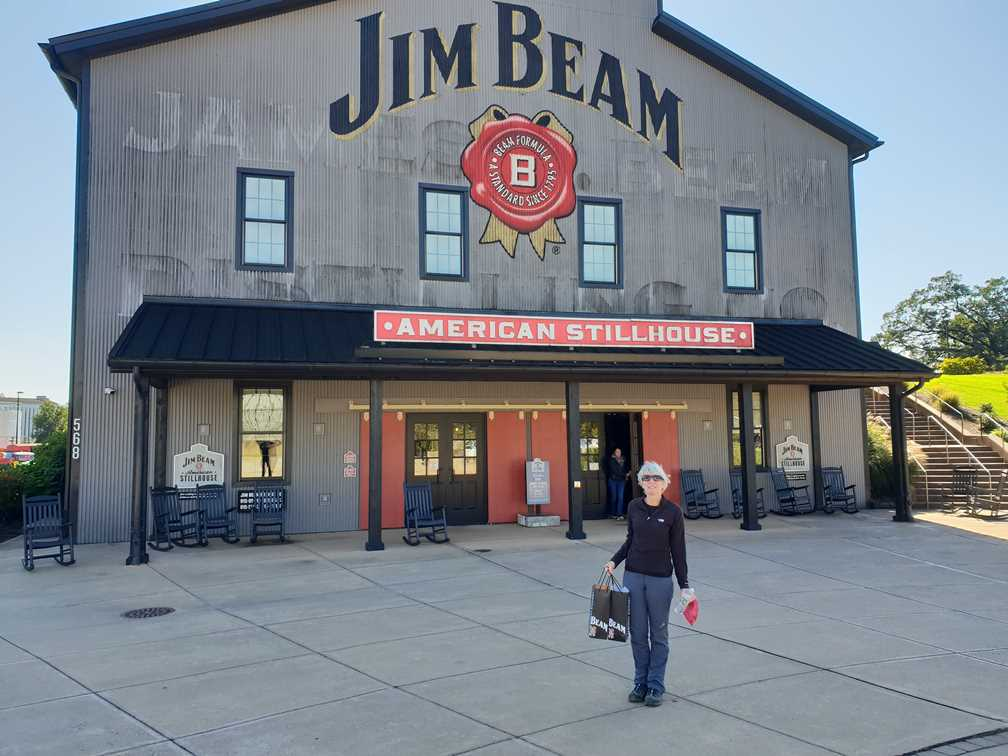 Outiside Jim Beam with purchases