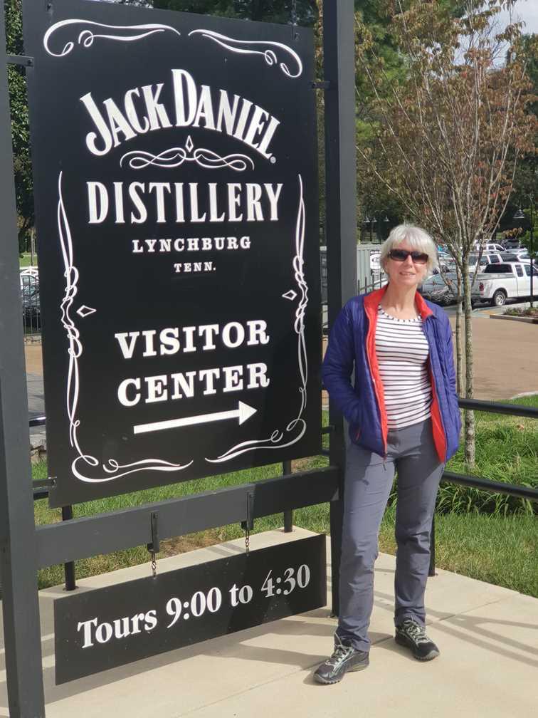 Standing outside Jack Daniel's whiskey distillery in K