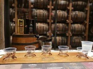 Whiskey samples all set out for tasting
