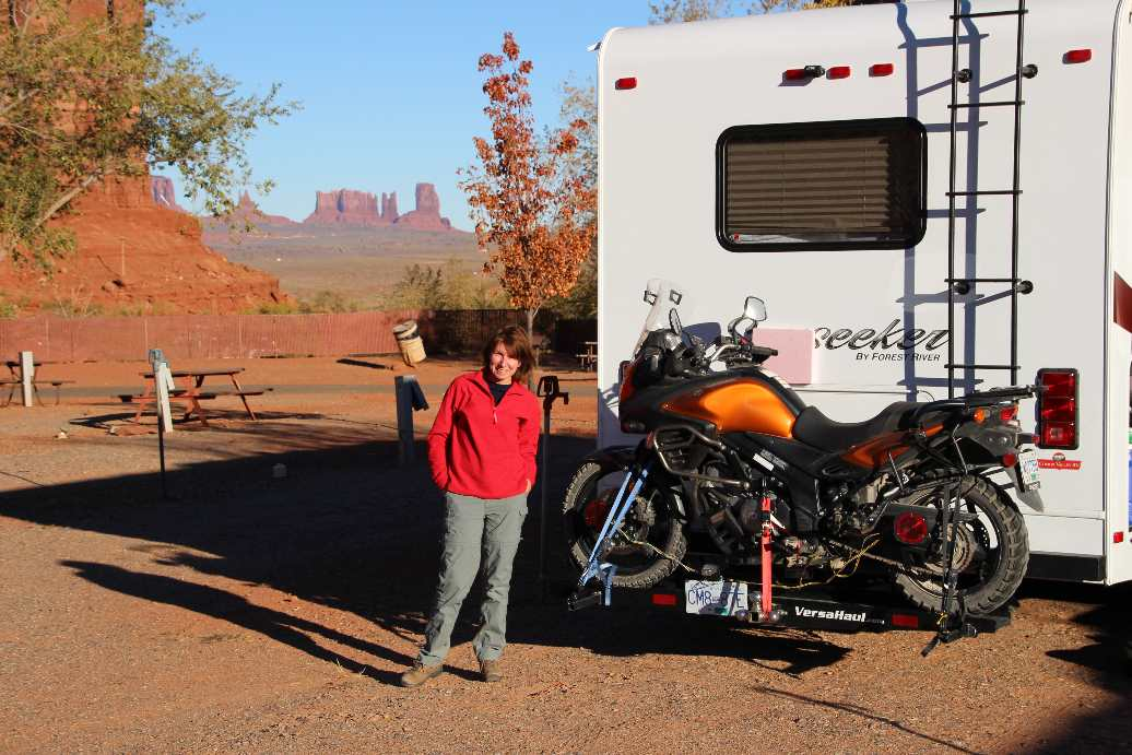 Campervan with Monument Valley in the background
