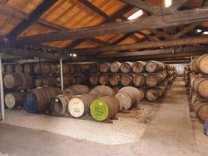 Inside the barrel warehouse at Fettercairn whisky distillery