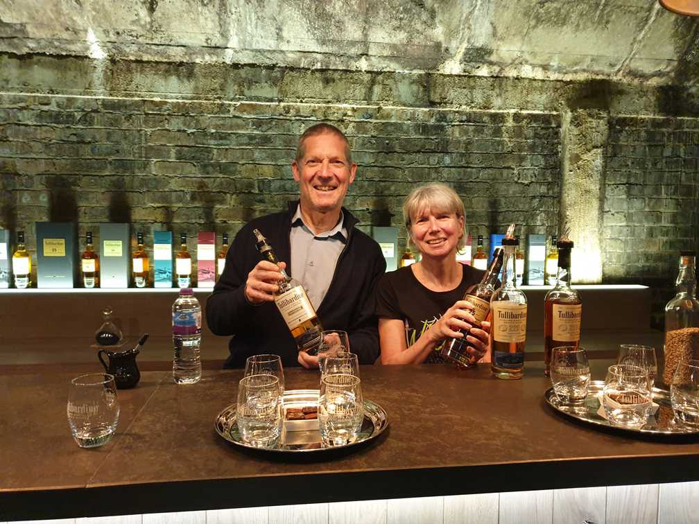 Jane and Peter in the tasting room at Tullibardine