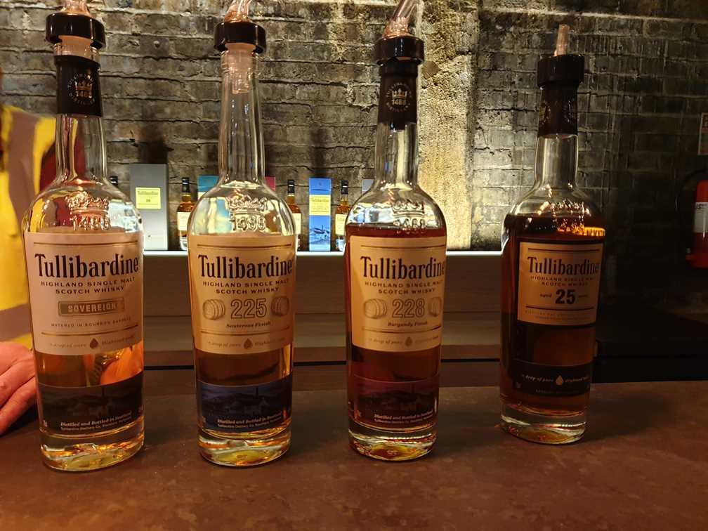 Bottles of Tullibardine whisky