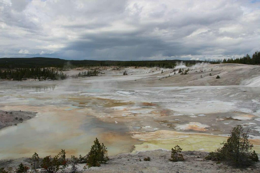 Lurid colours of Norris Geyser Basin