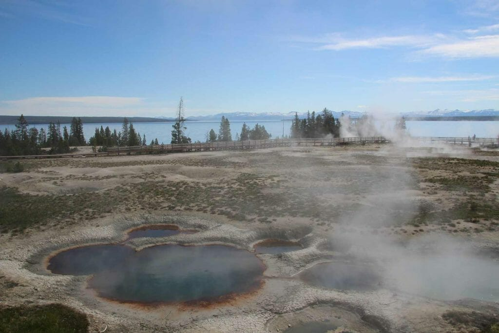 Mud pots and hot springs