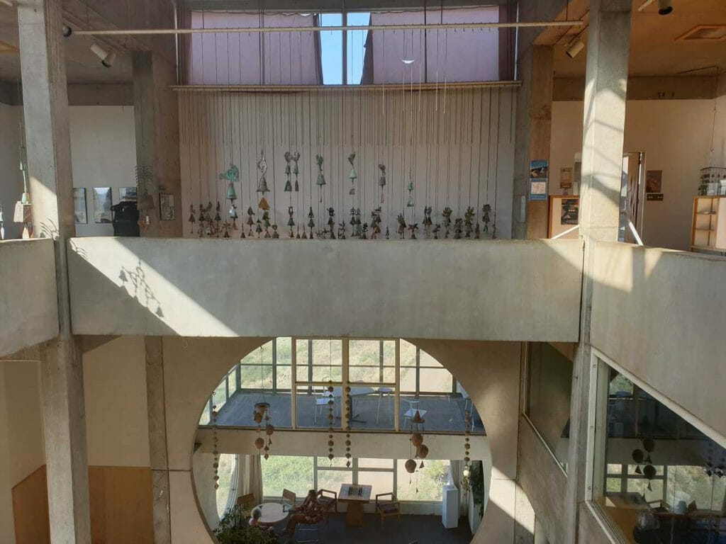 The visitor centre with the Arcosanti bells