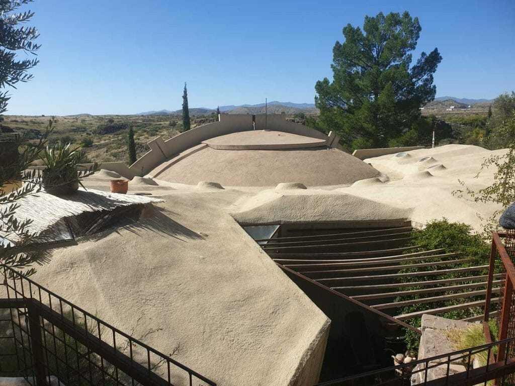 A view over the concrete structure of Arcosanti