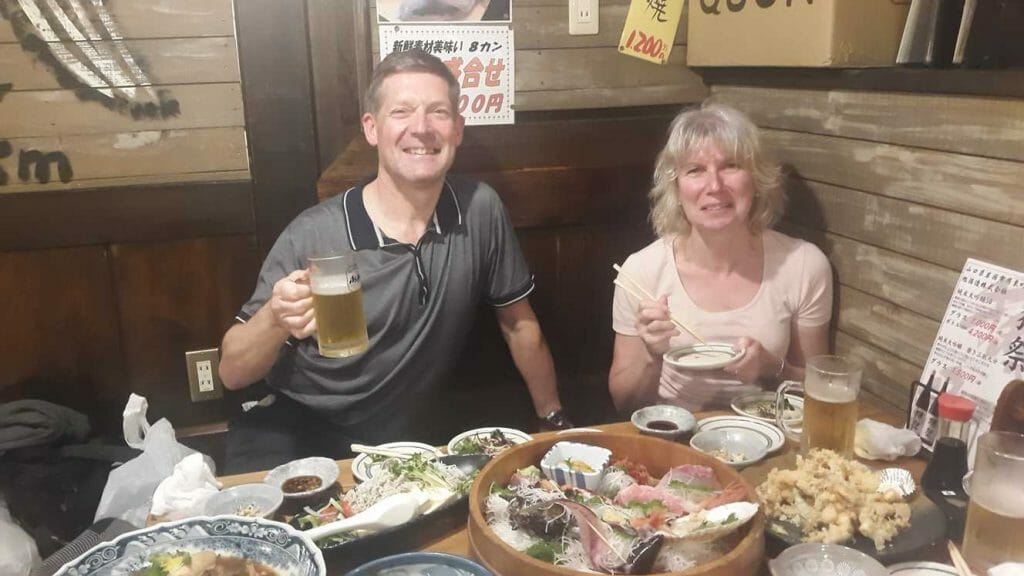 A traditional seafood meal on our tour of Japan