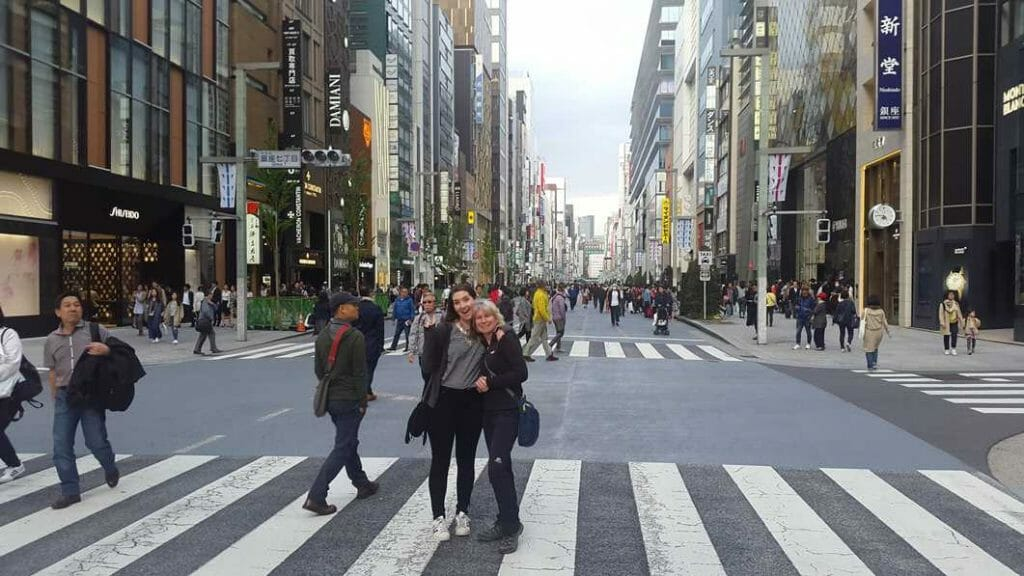 Standing on the road in Ginza