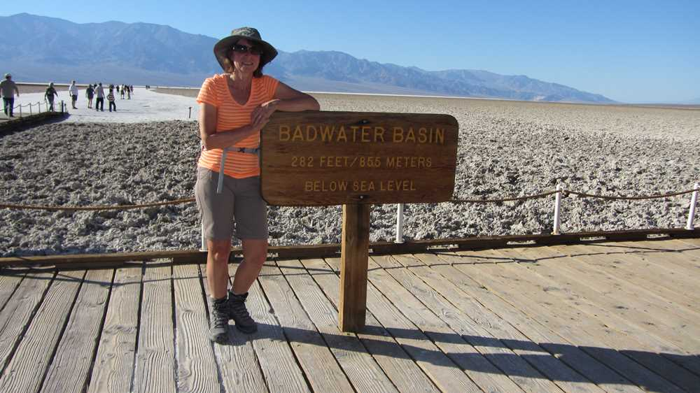 Signpost for Bad Water Basin in Death Valley