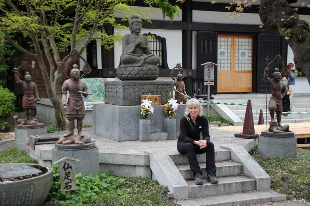 Sitting outside the Hasedera Temple