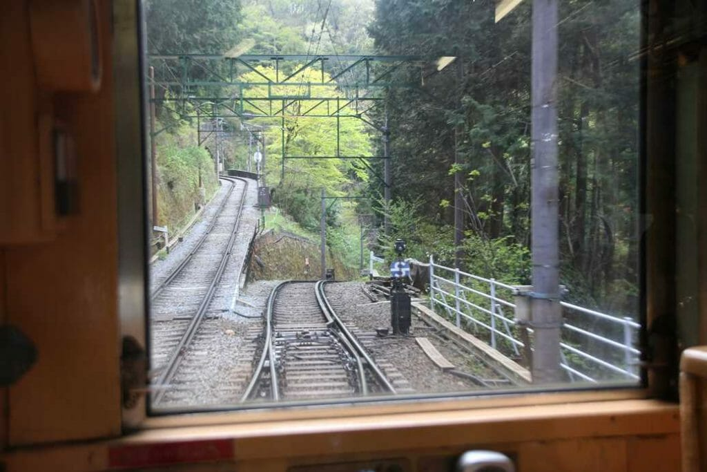The train track zig zagging up the mountain