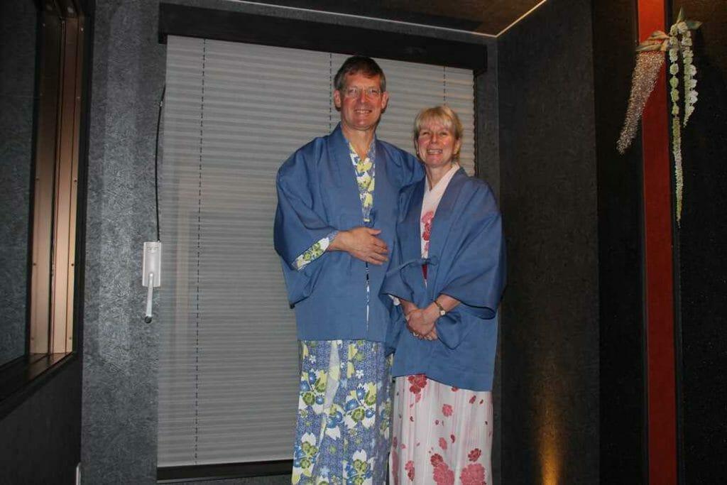 Wearing the yukata