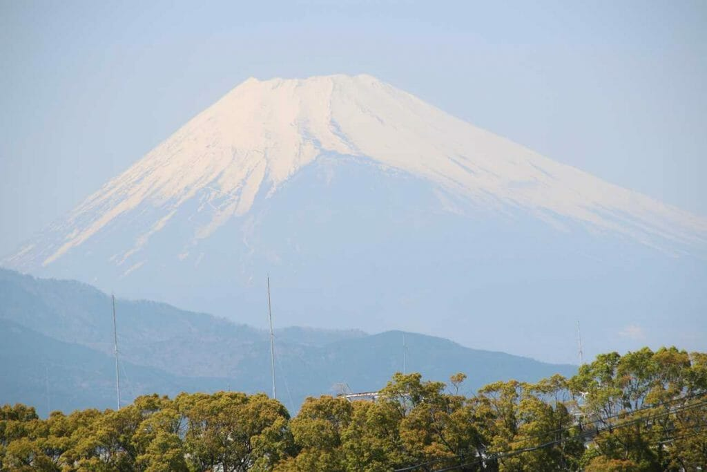 Mount Fuji seen from the train on the next leg of our tour of Japan