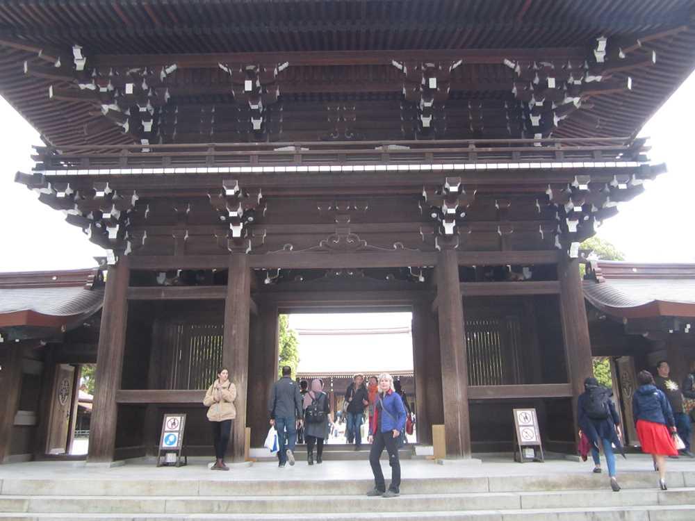 Visiting the Meiji-Jingu Shrine on our tour of Japan