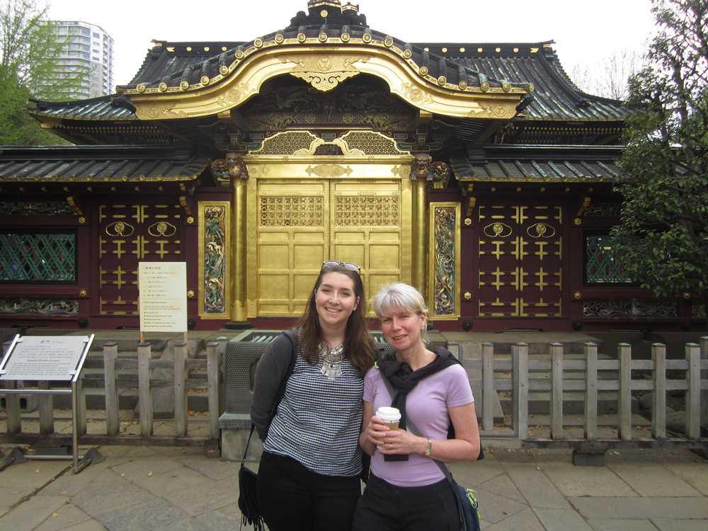 Standing outside Toshogu Shrine in Ueno Park