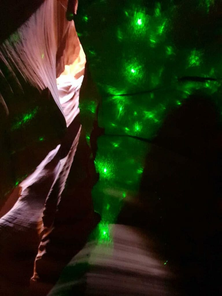 Effect created by shining a light through a diamond in the canyon