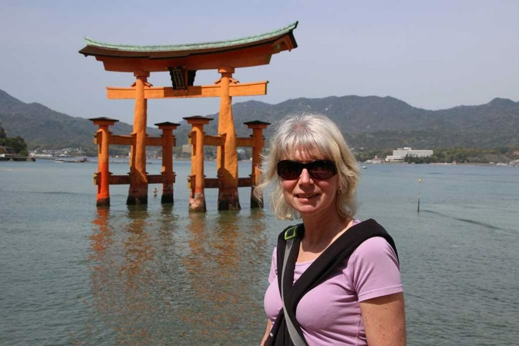 Pictured with the torii gate