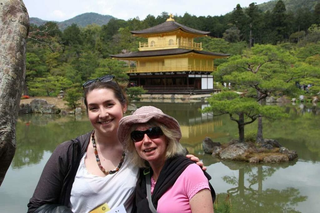 Jane and Beth with Golden Pavilion in background