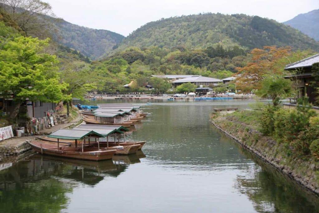 The view from the bridge in Arashiyama