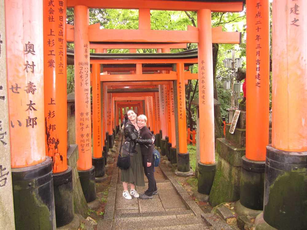 Beth and Jane in the torii gates of the Fushimi Inari Taisha Shrine