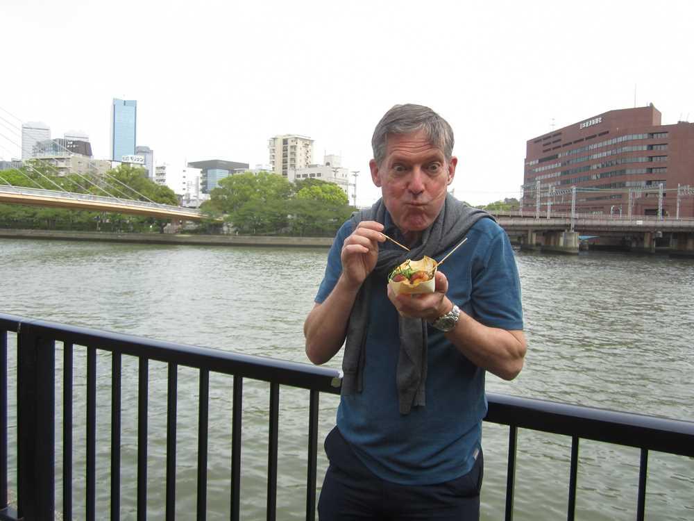 Peter eating Tokiyaki