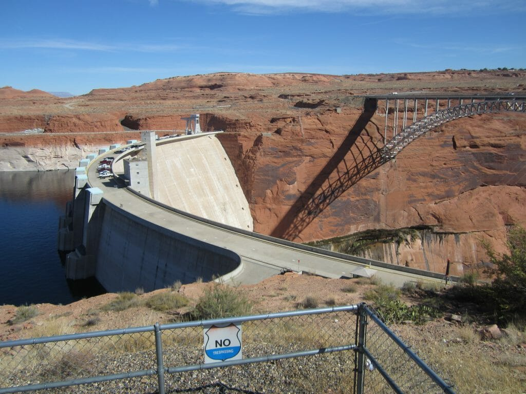 View of the Glen Canyon Dam, definitely on the list of what to see in Page