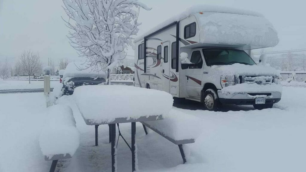 RV in winter campsite