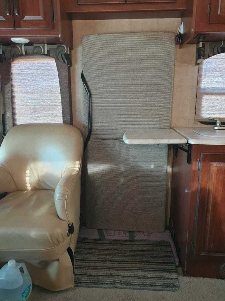 Motorhome door insulated for RV ski trip