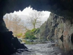 Looking out from the slate mine at Rydal