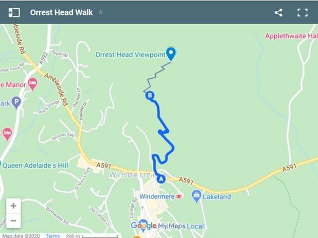 Orrest Head Walk route map