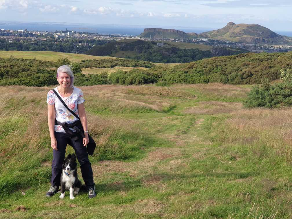 Travelling Dog on hike with Arthur's Seat in the background