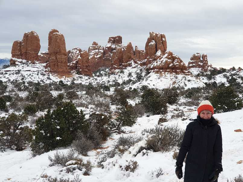 Me in the snow one day in Arches National Park