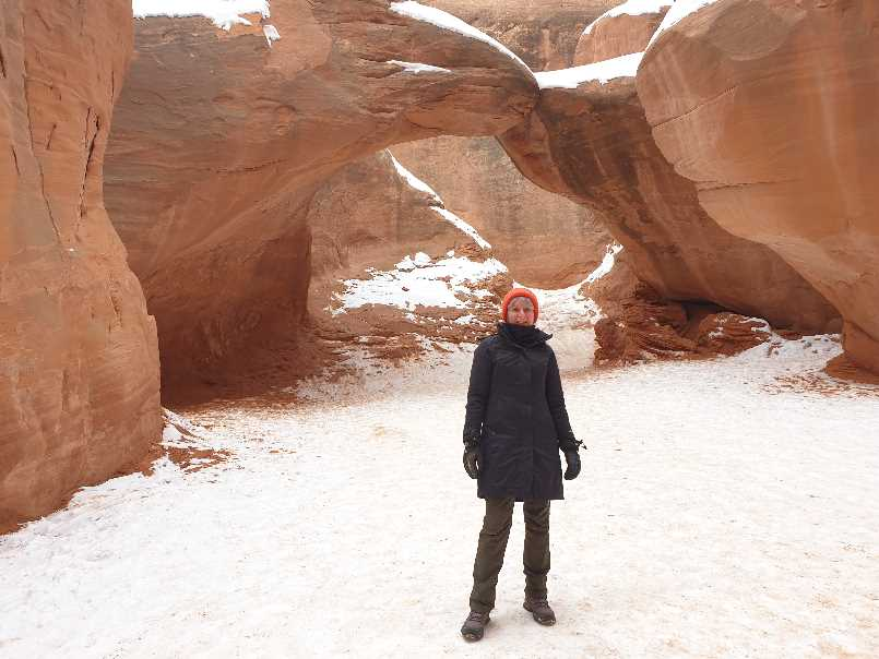 Me in Sand Dune Arch on a winter visit to Arches NP