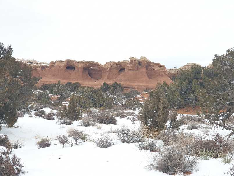Winter's day in front of Tapestry Arch in Arches NP