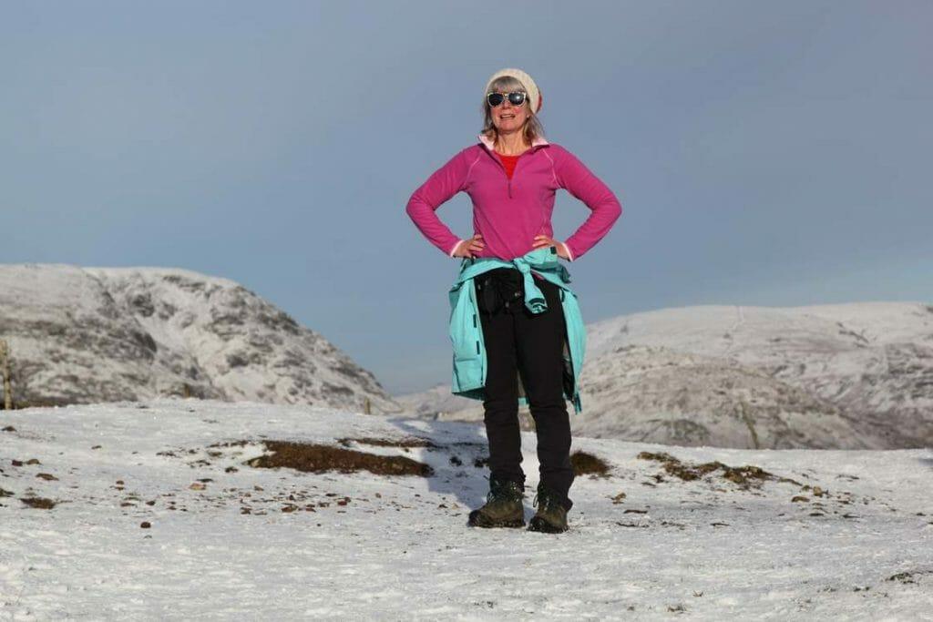 Jane at the summit of Wansfell Pike