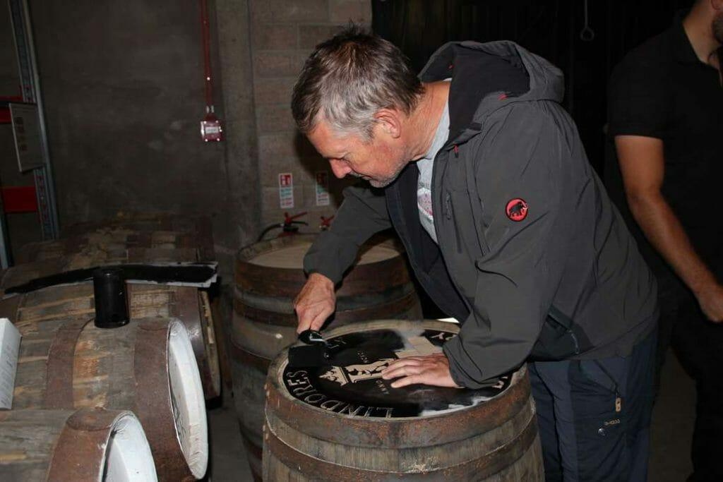 Peter stencilling the barrel